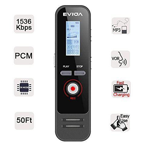 Digital Voice Recorder with Fast Charging by EVIDA,8GB 580Hours 1536Kbps PCM Voice Activated Recording 1 Button Recording/Saved Easy To Set Up Built-in MP3 Player (EV51 with fast charging)
