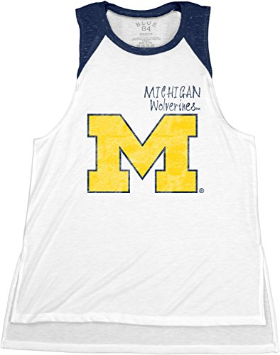 Blue 84 NCAA Michigan Wolverines Confetti Muscle Tank Top, Navy, Medium