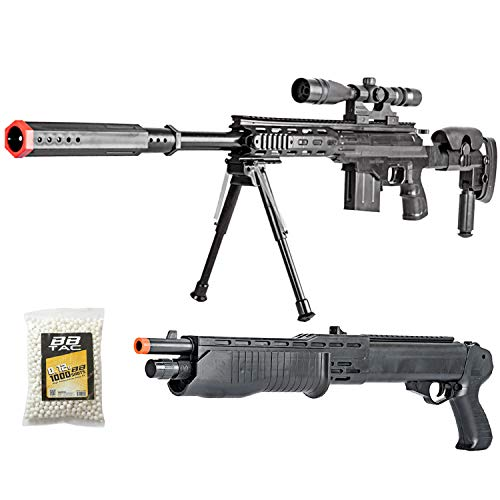 BBTac Airsoft Sniper Gun Package - Powerful Spring Sniper Rifle, Shotgun, 6mm BB Pellets, Great Starter Pack