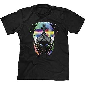 Blittzen Mens T-shirt Pug Sunglasses Headphones, S, Black
