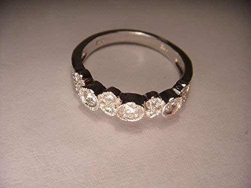 Wonderful Estate 14K White Gold Diamond Wedding Band Ring