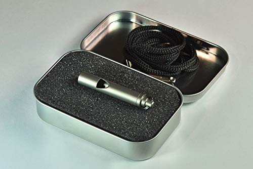 Whistleblower Emergency Survival Whistle Loudest Titanium Whistle for Outdoor - Premium Construction and Design - Controlled Noise Level - Includes Lanyard & Elegant Tin Box - Party & Gag Gift