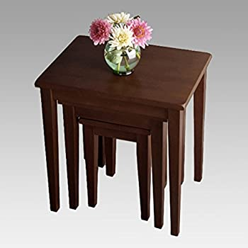 Winsome Wood 94320 3 Piece Antique Walnut Wood Nesting Table Collection