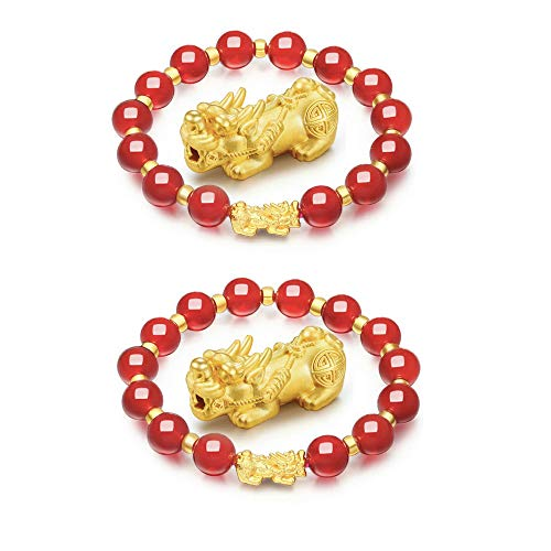SMART DK Feng Shui Red Wealth Porsperity 10mm Bead Bracelet with Pi Xiu/Pi Yao, Attract Wealth and Good Luck, Gift Box Included (2-Pack 10mm red) ()