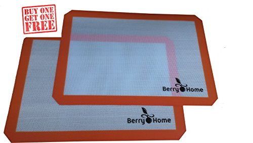 Silicone Baking Mat Parchment Replacement for Baking and Rolling Pizza Dough by Berry Home - 2 Pack (Teflon Cooking Spray compare prices)