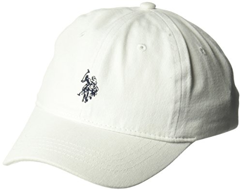 100 Percent Ball Cap - U.S. Polo Assn. Big Boys' Washed Twill Horse Logo Baseball Cap, Adjustable, White, One Size