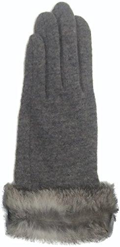 リベラルコーデリアうめきツイン 手袋 アンゴラ混 ラビットファー付き 5指タイプ グレー SY472