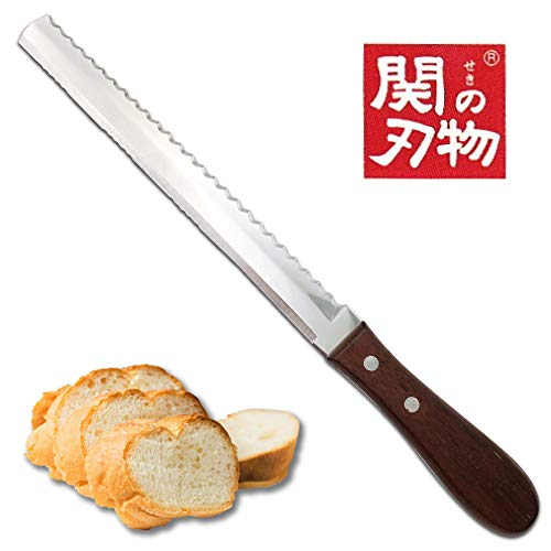 [Made in Japan] Unique Design, 2in1, Double Sided Super Sharp Power Blade, 8 Inch Serrated Bread Knife, Bread Cutter
