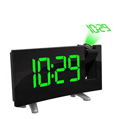 ❤️MChoice❤️Arc Led Projection Alarm Clock Modern Desktop Clock Radio Snooze Dual Alarm (Green)