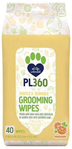 PL360 Dog Grooming Wipes, Mandarin, 40 Count