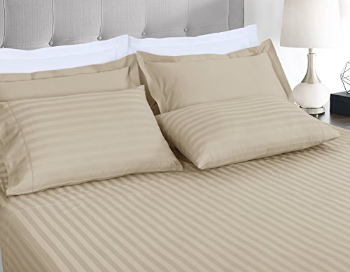 500 Thread Count 100% Extra-Long Staple Cotton Sheet Set,Twin XL Sheets, Damask Stripe Hemstitch Luxury Bedding, Twin XL Sheets 3 Piece Set ,Smooth Sateen Weave,Beige, by Threadmill Home Linen