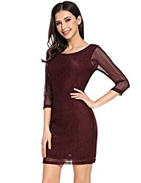 Meaneor Women's Elegant Long Sleeve Floral Lace Bodycon Formal Mini Party Dress