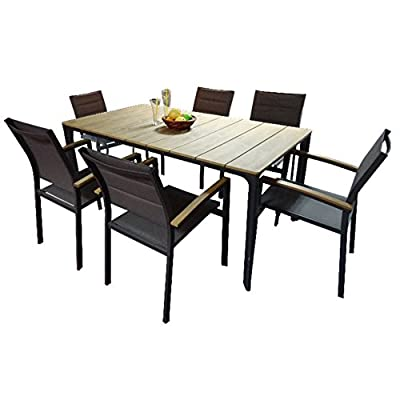 Carabelle Lacona 7-Piece Wood and Sling All- Weather Outdoor Living Lawn & Garden Patio Dining Set - Black - FSC Eucalyptus Wood Aluminum Powder-Coated Frame with Pad Grey Textilene Chair Seat and Back, Die-Cast Armrest, and Polywood Slat Chair Back Set includes rectangular dining table and 6 dining chairs - patio-furniture, dining-sets-patio-funiture, patio - 41W89B9gPaL. SS400  -