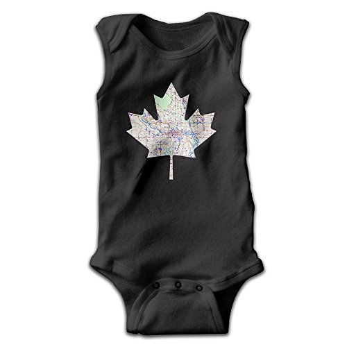 Honeykid Infant Canada Maple Leaf Map Map Of Calgary Sleeveless Onesies Jumpsuit Black (Calgary Cookie Delivery)