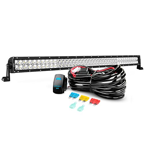 LED Light Bar Nilight 42 Inch 240W Spot Flood Combo Led Bar and 14AWG 5Pin Rocker Switch Wiring Harness Kit - One Lead ,2 Years Warranty ()