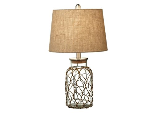 Adriatic Sea Glass Jar with Rope Netting Table Top Lamp with Linen Shade - Set of 2