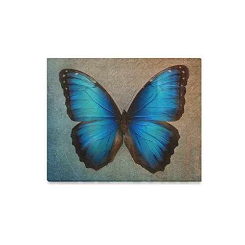 InterestPrint Elegant Vintage Blue Butterfly Art Canvas Prints Painting Wall Art Wooden Frame Artwork for Home Decoration Wall Decor, 20 x 16 Inches