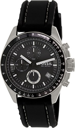 Mens Fossil White Silver Dial - Fossil Men's CH2573 Decker Stainless Steel Chronograph Watch With Black Silicon Band