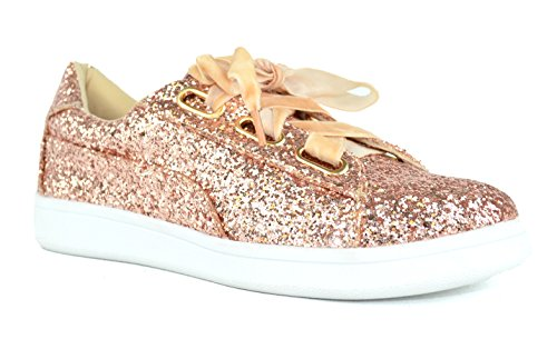 Chase & Chloe Celine-11 Canvas Lace-Up Womens Fashion Sneaker Rose Gold nIH5P6z