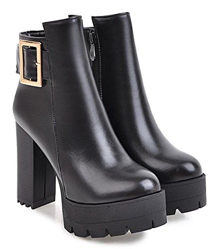 High Strap Aisun Buckle Black Toe Zipper Ankle Women's Heel Block Side Platform Trendy Boots Round qxqBwYE