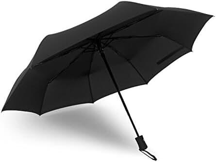 Ohuhu Auto Travel Umbrellas, Windproof, Auto Open and Close, Compact, Black
