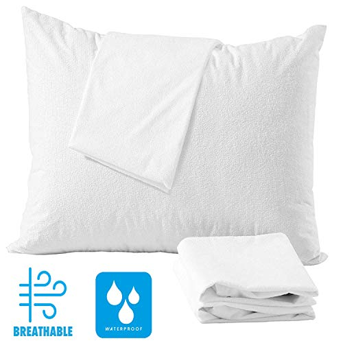 4 Pack Queen 20x30  Pillow Protectors 100% Waterproof Zippered Cotton ❤️Life Time Replacement❤️White Terry Pillow Encasement Washable Long Life Soft Non Pvc Breathable Fabric Set