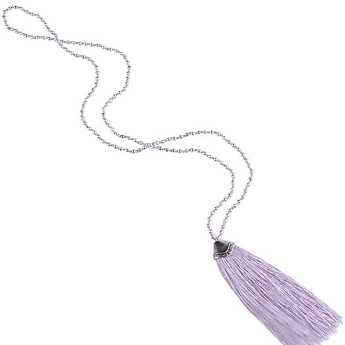 (KELITCH Silver Plated Round Beaded Necklaces Handmade Color Tassel Long Pendants Necklace Fashion 32