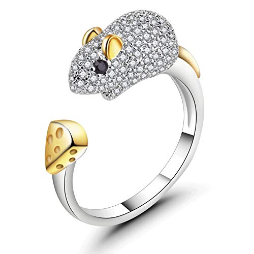 (ATDMEI Mouse Ring Sterling Silver Gifts for Women Gold Zircon Cuff Adjustable Chinese Zodiac Jewelry Gifts)