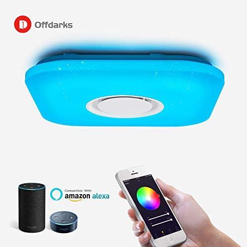 OFFDARKS Plafoniera a LED 36W quadrata con altoparlante Bluetooth APP WiFi Telecomando che cambia colore tramite Alexa Google Home Illuminazione intelligente per interni