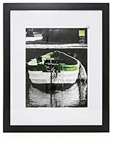 Kiera Grace Langford Wood Picture Frame, 16 by 20-Inch Matted for 11 by 14-Inch Photo, Black