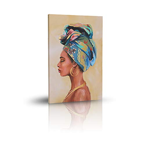 MKLQL Africa Wall Art Posters and Prints for Bedroom Living Room African American Woman Portrait Gold foil Painting Wall…