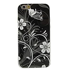 ZXSPACE White Flowers Pattern Soft TPU Case Cover for iPhone 6