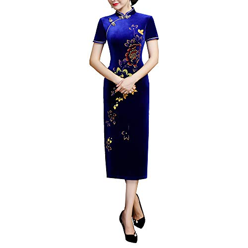 ca2ed55133b0 Women's Golden Velvet Retro Cheongsam Chinese Style Long Embroidery  Cheongsam
