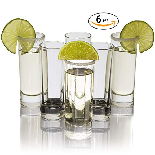 Shot Tall Glass Set (Cutehom Tall Tequila Shot Glasses - Set of 6 Crystal clear Glassware Kit)
