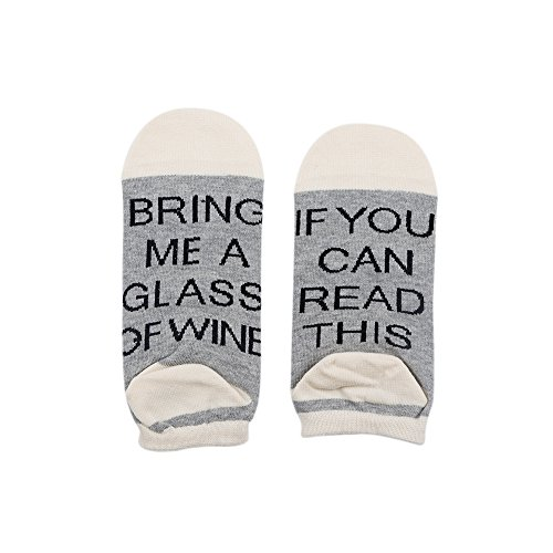 Deyuan Socks,2 Pairs Unisex One Size For Men and Women,If You Can Read This Bring Me A Glass Of Wine,Boat socks (grey with white) (Pack of 2)