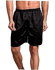 Mannen pyjama shorts kunstmatige zijden slapende korte broek elastische taille nachtkleding bodems grijs l