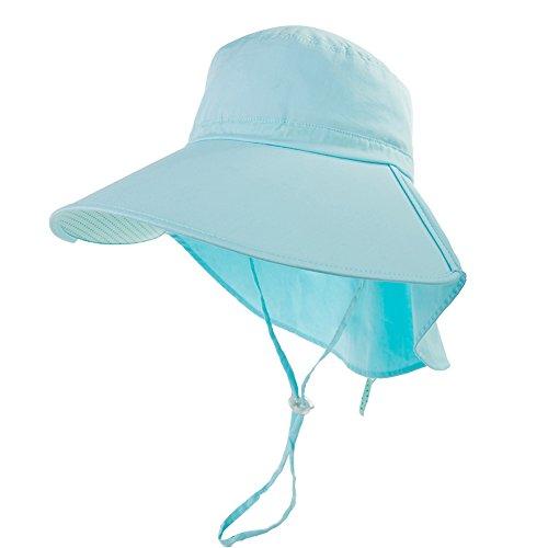 Cotton Chin Cord - Siggi Summer Beach Cotton Sun Hats with Neck Flap Cap Chin Cord UPF 50+ for Women Green