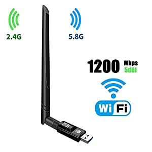 USB Wifi Adapter 1200Mbps ZTESY USB 3.0 Wifi Dongle 802.11 ac Wireless Network Adapter with Dual Band 2.4GHz/300Mbps+5GHz/866Mbps 5dBi High Gain Antenna for Desktop Windows XP/Vista/7/8/10 Linux Mac