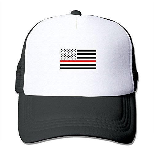 Thin Red Line American Flag Snapback Mesh Cap Hat Casual Baseball Trucker Cap]()