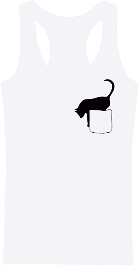 Teresamoon Womens Casual Short Sleeve V Neck Letter Cat Print Leisure Tank