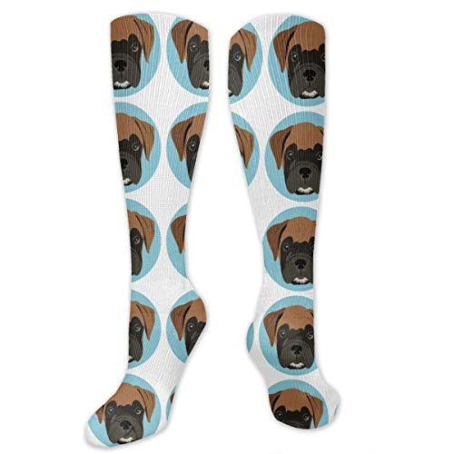 Soft Moisture Wicking Crew Socks for Boys, Cute Dog Face Non-Slide Arch Support Crew Basketball Socks -