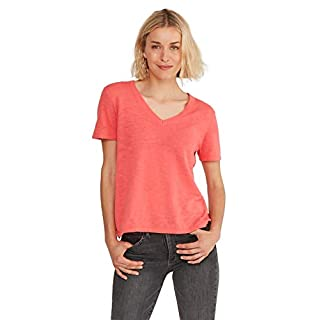 State Cashmere Women's Lightweight 100% Cotton Loose Casual V- Neck Short Sleeve Cotton T-Shirt