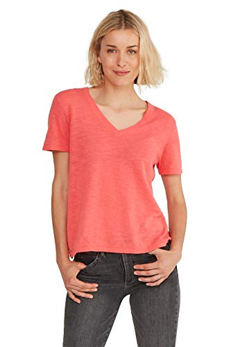 - State Cashmere Women's Lightweight 100% Cotton Loose Casual V- Neck Short Sleeve Cotton T-Shirt