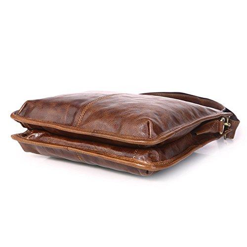 Genda 2Archer Bolso de Cuero Simple de la Honda del Slg del Bolso de hombro del Cuero Genuino Para los Hombres o las Mujeres (25.5cm * 5cm * 26cm)