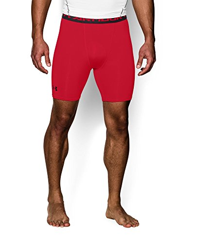 Under Armour Men's HeatGear Armour Compression Shorts – Mid, Red (600)/Black, Medium by Under Armour (Image #2)