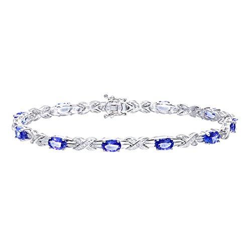 Revoni Bague en or blanc 9carats-Tanzanite classique Kiss Bracelet avec diamant