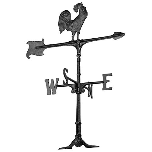 Whitehall Products Rooster Accent Weathervane, 30-Inch, Black ()