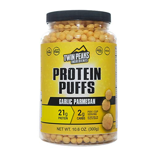 (Twin Peaks Low Carb, Allergy Friendly Protein Puffs (300g, 21g Protein, 2g Carbs) (Garlic Parmesan))