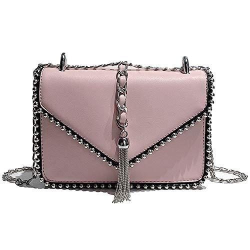 Petite Fufufuchen de forme rose avec carrée à crampons Blanc des bandoulière chaîne Sac qO1tpw4