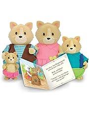 Li'l Woodzeez 6156M Whiskerelli Kattenfamilie met verhaalboek, Multi